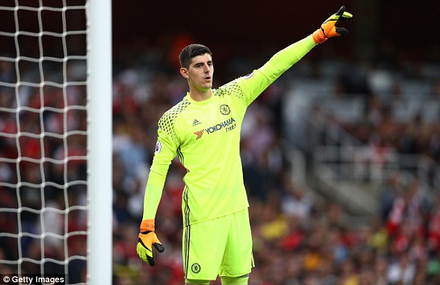 Goalkeeper Thibaut Courtois issues instructions during Chelsea's defeat at Arsenal
