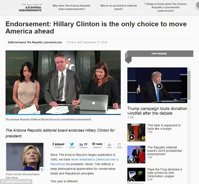 HAMMER BLOW: The Arizona Republic's editorial in favor of Hillary Clinton called her 'the only choice'