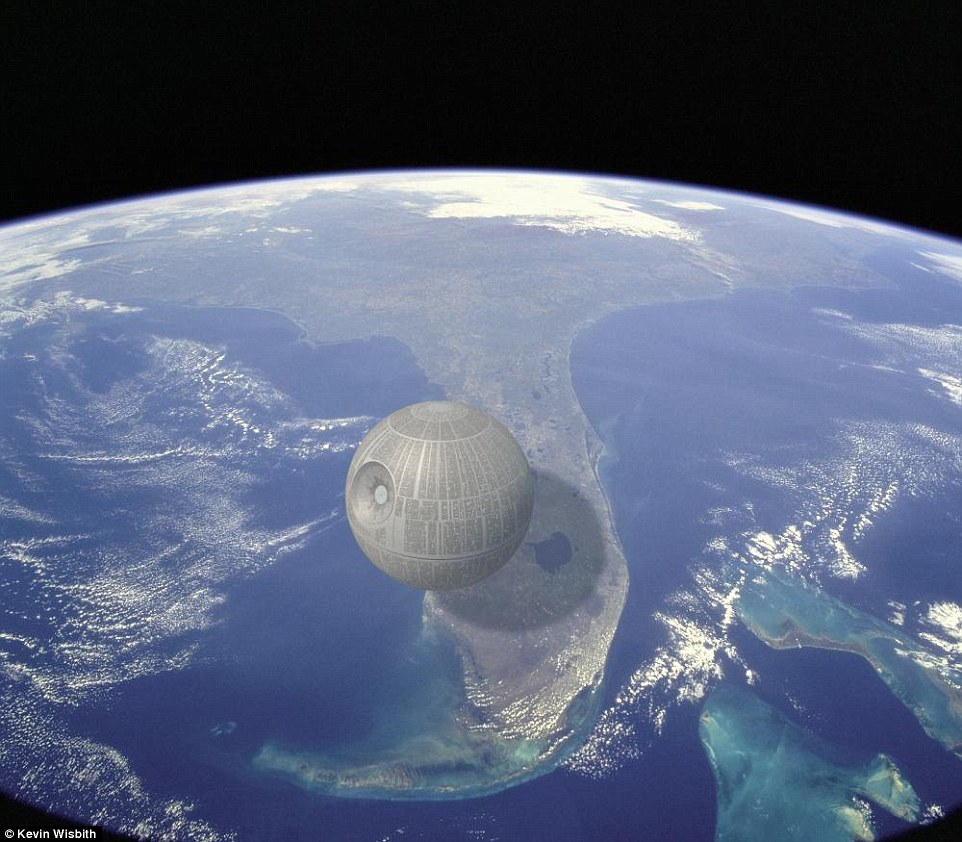 The most unrealistic of all the images - for more than one reason - was one showing the Death Star from Star Wars hovering ominously above Florida