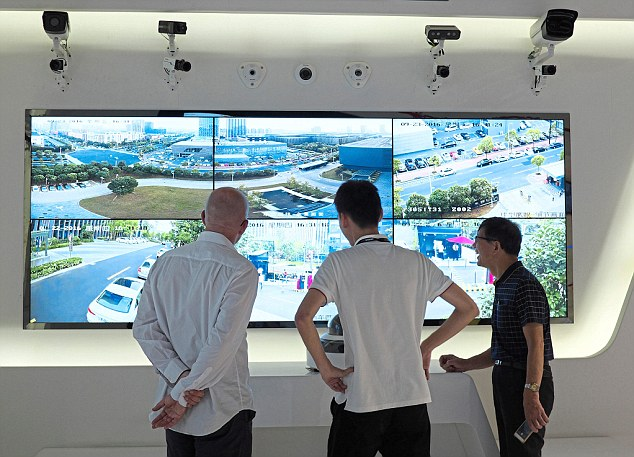 Hi-tech surveillance, face recognition software and equipment is used inside the headquarters of Hikvision in Hangzhou, China