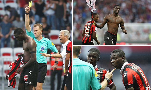 Image result for Mario Balotelli sent off THREE minutes after scoring stunning Nice winner