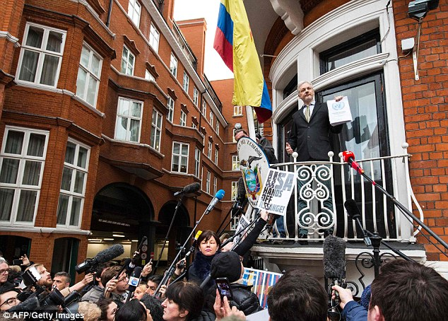 Wikileaks founder Julian Assange, pictured here in February on the balcony of the Ecuadorian embassy in London, had been planning to address a press conference later this week