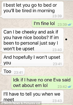 He also asked if she had 'nice boobs' and told 'Charlotte' to send him a picture of her dressed in school uniform