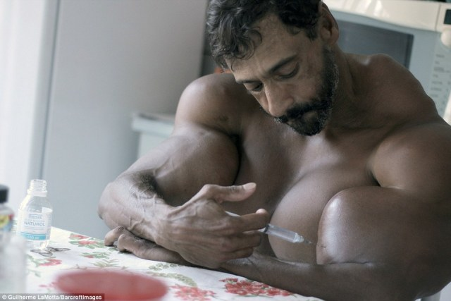 Segato injects himself with synthol, which is made up of 85 per cent oil, 7.5 per cent lidocaine and 7.5 per cent alcohol