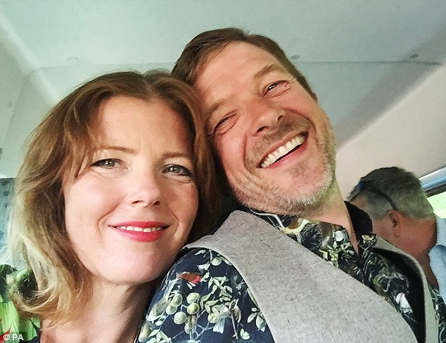 Husband Rufus Greenway (pictured together) said she fractured her skull and died six days later in St Mary's Hospital in Paddington, central London, after suffering a cardiac arrest,