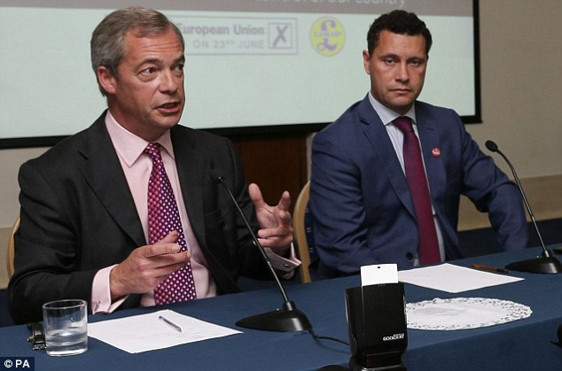 Ukip leadership farce: Mike Hookem is accused of hitting party leadership favourite Steven Woolfe (right, with Nigel Farage in June) last week in Strasbourg