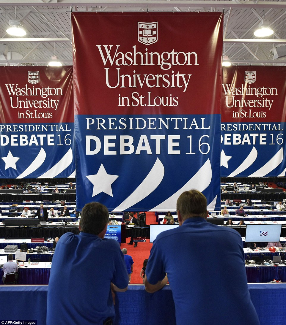 A general view shows the press center for the second presidential debate between Republican presidential nominee Donald Trump and Democratic rival Hillary Clinton