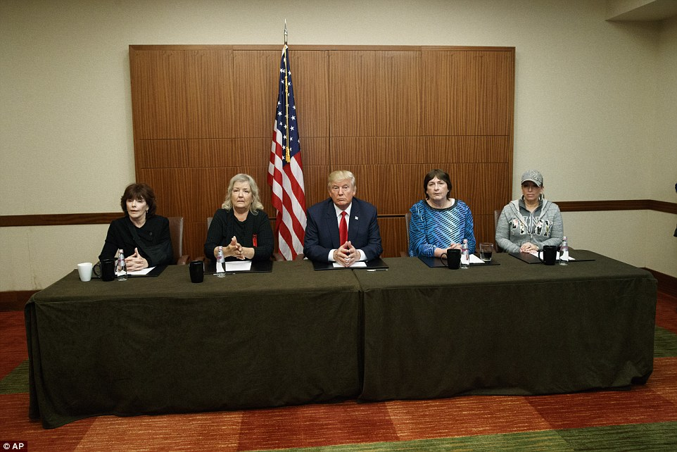 (L-R) Kathleen Willey, Juanita Broaddrick, Donald Trump, Kathy Shelton and Paula Jones held a photo-op in St. Louis, Missouri on Sunday before the second presidential debate