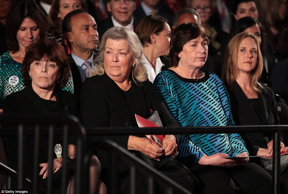 Extraordinary moment:  Kathleen Willey, Juanita Broaddrick and Kathy Shelton were seated close to Bill Clinton for the debate and arrived just minutes after publicly accusing him of sexual attacks and his wife of abusing women