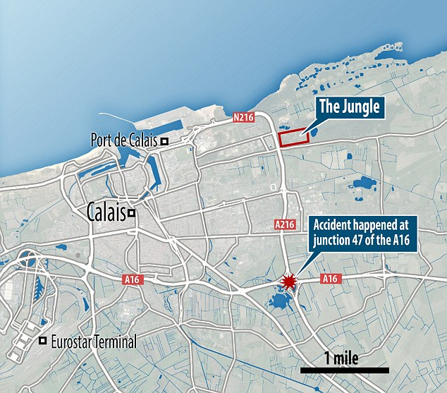The accident took place at junction 47 of the A16, which starts on the Belgian border and heads towards the Paris suburbs