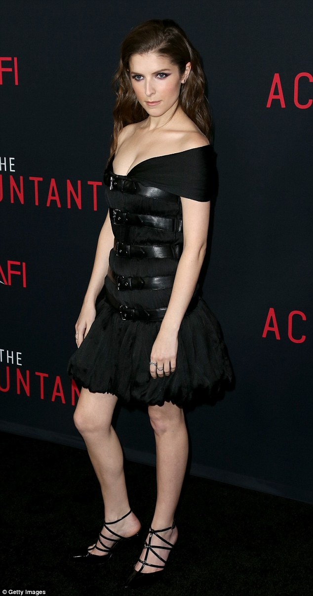 Sexy number Anna Kendrick wears racy LBD with leather