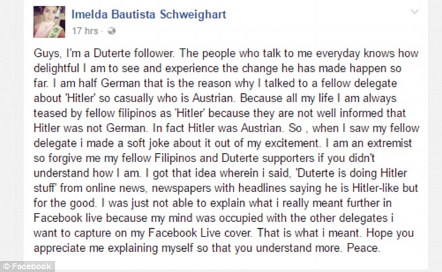 Imelda Bautista Schweighart explains her Hitler comparison was about her German heritage