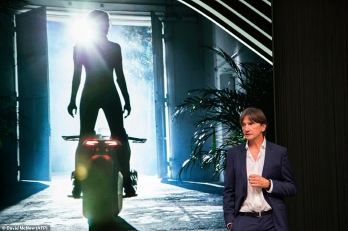 Head of BMW Motorrad Design, Edgar Heinrich, speaks at the unveiling of the BMW Motorrad VISION NEXT 100 concept motorcycle at the 'Iconic Impulses' event
