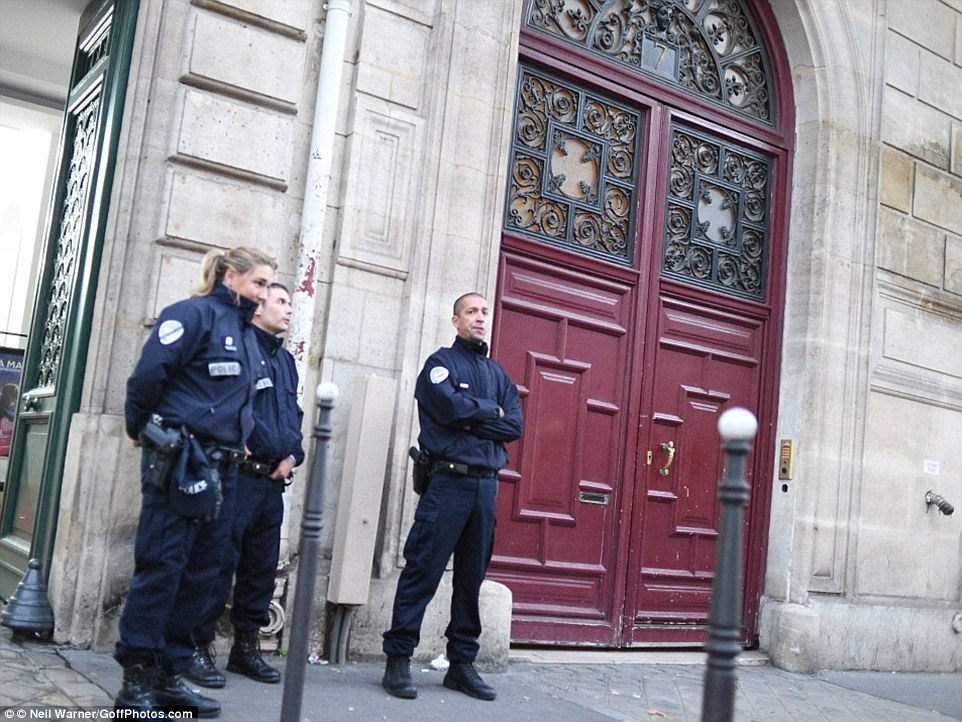 Warning: Abdulrahman showed the MailOnline an email he had sent in 2010 where he tried to warn bosses at an independent firm responsible for the hotel's security of the dangers of the lax security at the establishment. Pictured: French police guard the luxury Hôtel de Pourtalès on the morning after the October 3 heist