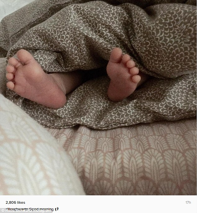 Little piggies: The Danish singer's longtime girlfriend Marie-Louise 'Rillo' Schwartz Petersen confirmed the great news on her Instagram account with a sweet snap of the baby's feet