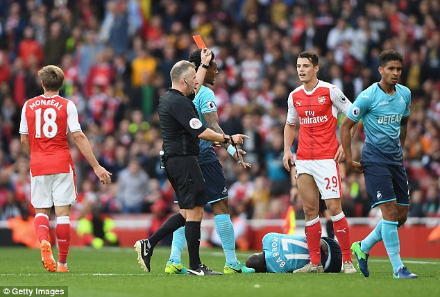 Image result for xhaka red card v swansea