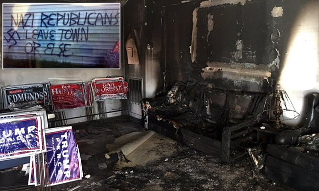 Republican party headquarters is firebombed and daubed with Nazi graffiti in North