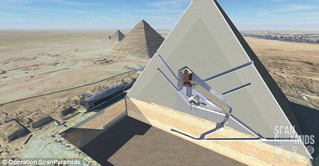 A 3D cutaway view of the Great Pyramid of Giza revealing its interior chambers.Experts confirmed the existence of the mysterious cavities on Saturday after scanning the millennia-old monument with radiography equipment