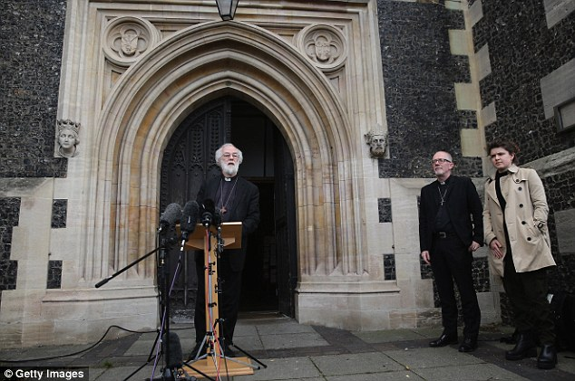 Former Archbishop of Canterbury Dr Rowan Williams speaks to the media today