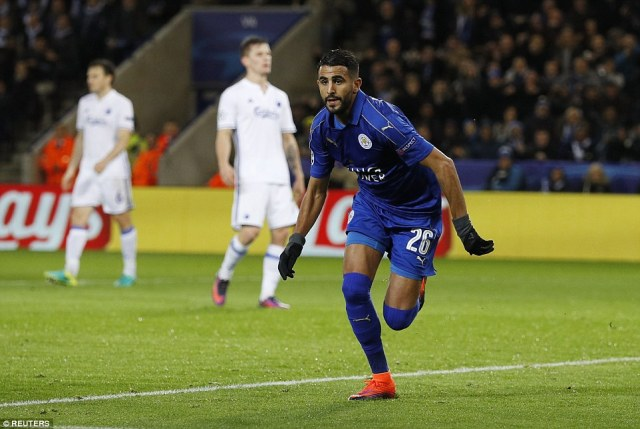 Riyad Mahrez wheels away in celebration after scoring Leicester's winner against Copenhagen in the Champions League