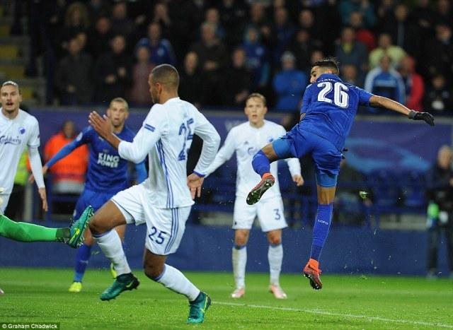 Mahrez watches on as he finishes past their Danish opponents at the King Power Stadium