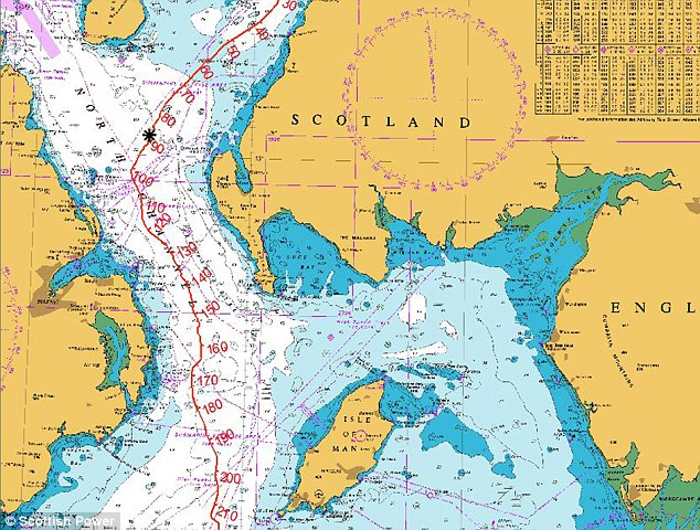 A map shows the location of the sunken submarine off the south-west coast of Scotland