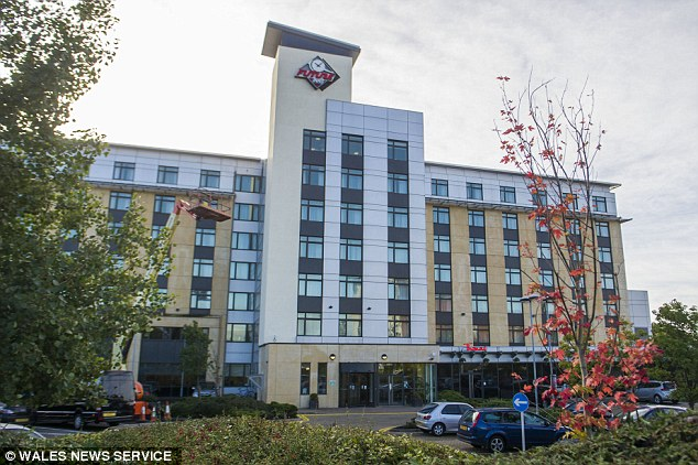 Discovery: Miss Aburas was found by staff at the Future Inns hotel (pictured) in Cardiff - and hours later her killer allegedly fled in her car to drive to Heathrow Airport to escape justice