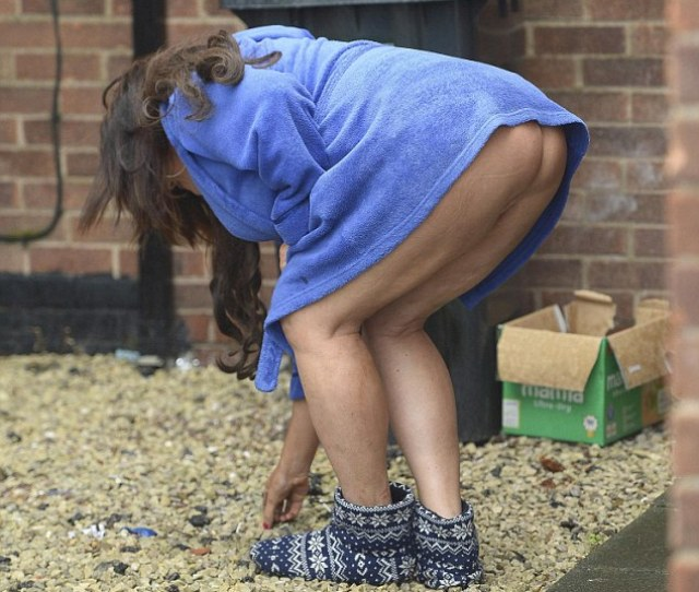 Cheeky Lisa Reached Down To Retrieve Something From The Gravel Outside Her House Revealing A