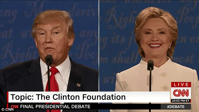 Her glee remained written all over her face as Trump continued to slate her, much to viewers' confusion