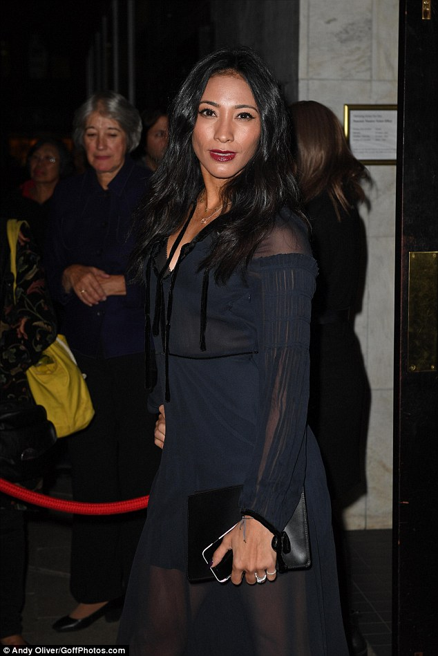 Wowing them:The  dancer showed off her stunning figure in a semi sheer dress as she hit the red carpet for the Fire In The Ballroom opening night at The Peacock Theatre in London