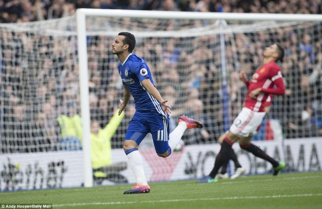 Pedro celebrate as he opens the scoring for Chelsea after just 31 seconds at Stamford Bridge on Sunday