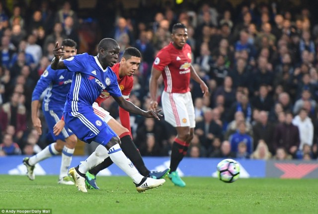 N'Golo Kante makes it four as Chelsea run riot against Manchester United at Stamford Bridge on Sunday afternoon