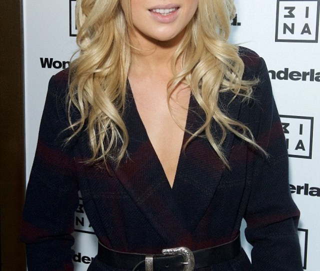 Posing Blonde Beauty Flashed Her Cleavage In Just A Chic Checked Belted Coat