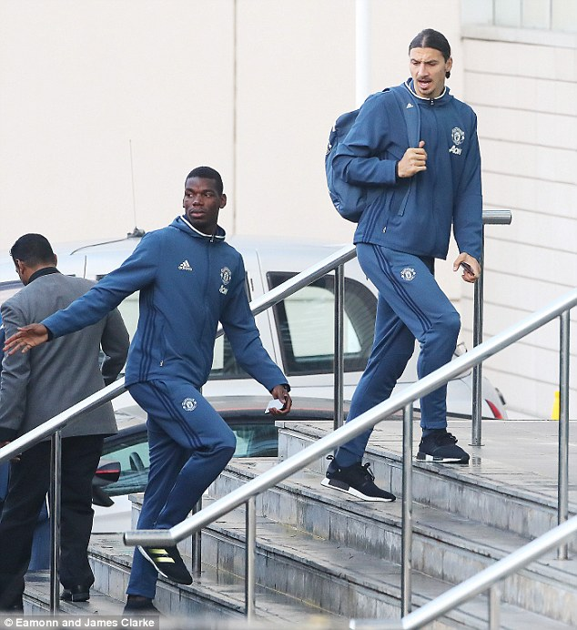 Zlatan Ibrahimovic (right) and Paul Pogba arrive at The Lowry ahead of playing City