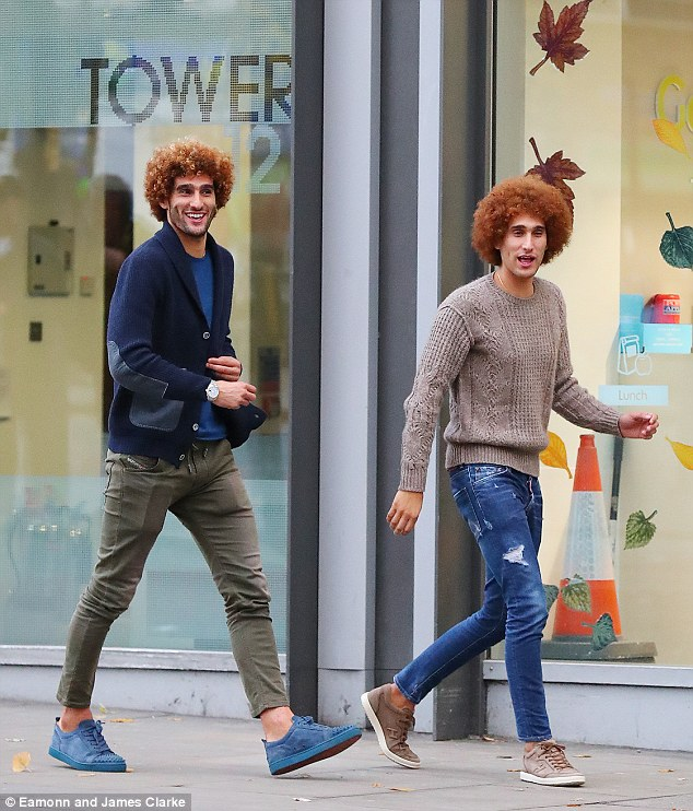 Marounae Fellaini (left) and his twin brother Mansour sported their matching ginger afros