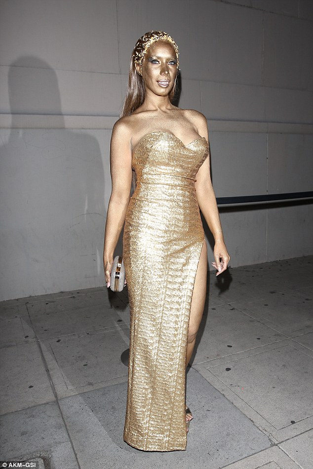 Statuesque: On Saturday evening singer Leona Lewis  attended the annual Trick Or Treats magazine Halloween party in Los Angeles