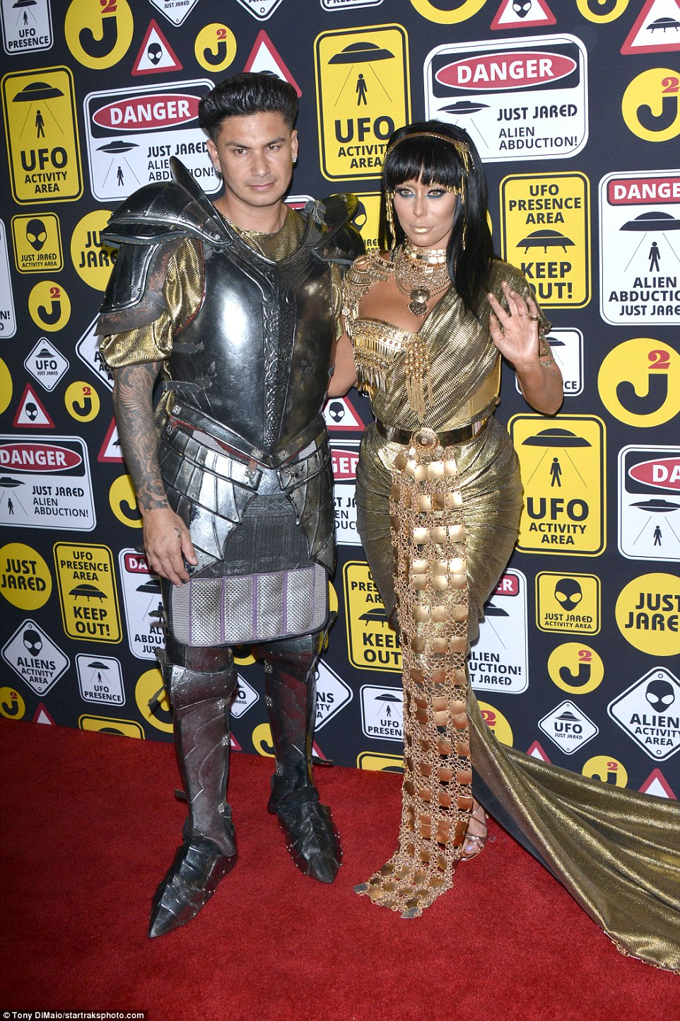 Two kingdoms unite: Singer Aubrey O'Day ruled the red carpet in a Cleopatra costume as she was joined by her Jersey Shore boyfriend Pauly D, who was her Marc Anthony