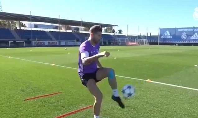 Real Madrid captain Sergio Ramos training alone at clubs Ciudad training ground in bid to