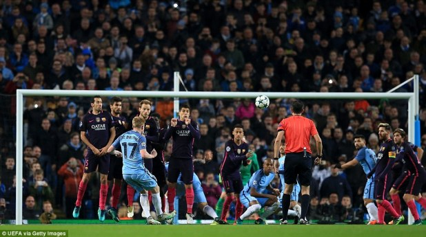 De Bruyne (No 17) gives Manchester City the lead in the 51st minute, striking home an incredible free-kick
