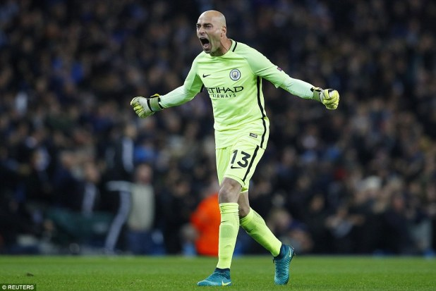 City's goalkeeper on the nightWilly Caballero - the 35-year-old Argentine - celebrates De Bruyne's goal with the fans