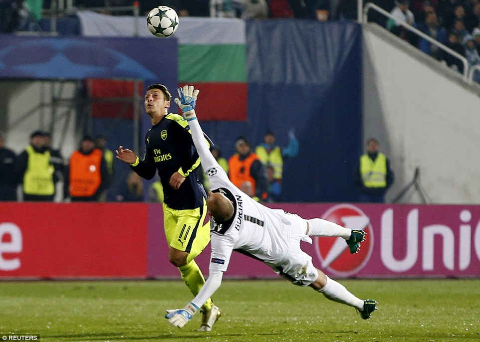 Ozil  lobbed Ludogorets goalkeeper Milan Borjan before rounding the No 1 and scoring their third goal late on