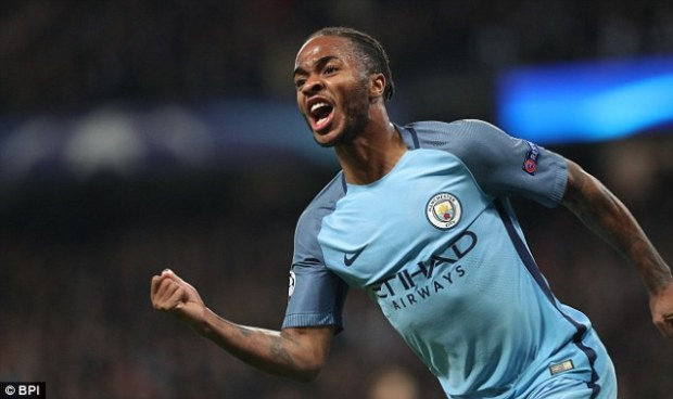Sterling pictured celebrating during City's famous Champions League win over Barcelona