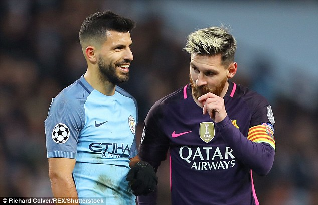Sergio Aguero (left) played the role of peacemaker during the incident on Tuesday night