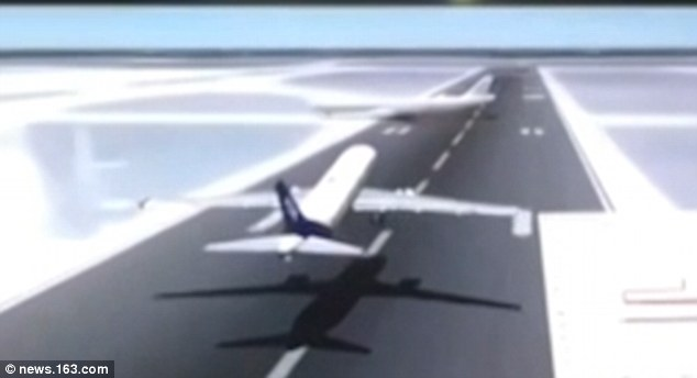 A simulation shows the A330 was crossing the runway when the A320 was taking off