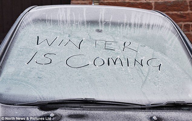Forecasters have predicted an increased chance of a colder-than-usual start to this winter due to a change in Arctic conditions and 'unusual' tropical rainfall patterns. A hand-written message is seen in frost on a windscreen of a car in Culgaith, Cumbria, this morning
