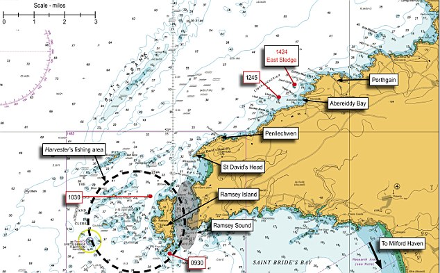 This map shows the fishing area of the boat and its location during various witness sightings on the day