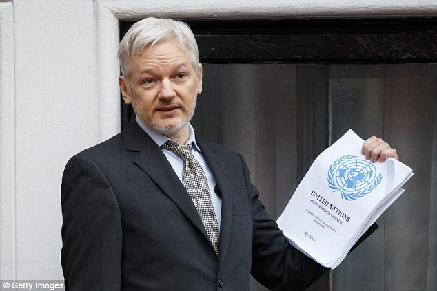 Assange, pictured, has been holed up in the Ecuadorian embassy in London  since 2012