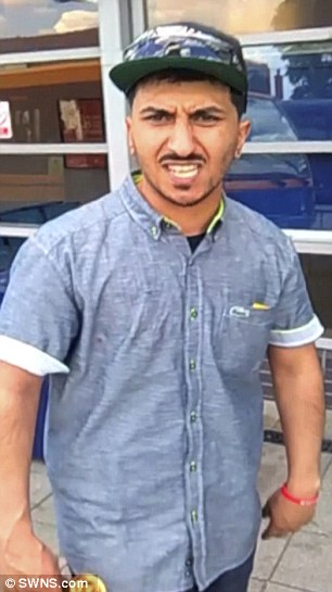 Osama Hussain, 28, knifed his 32-year-old victim three times in the arm and back, narrowly missing his spine, in a shocking attack in July this year. His victim managed to capture him on his mobile phone (pictured)