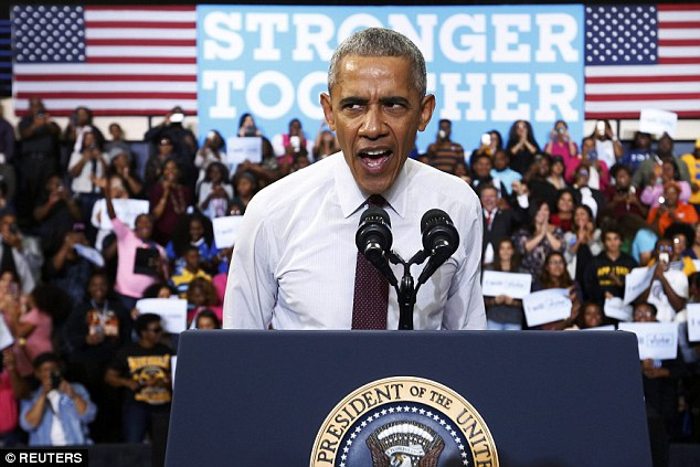 President Barack Obama told a rowdy crowd that they needed to show an elderly Donald Trump supporter who appeared to be a veteran some 'respect' today as they interrupted his remarks to scream at the man