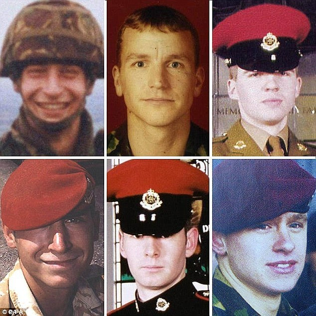 Sergeant Simon Hamilton-Jewell, Corporal Russell Aston, Corporal Paul Long, Corporal Simon Miller, Lance-Corporal Benjamin John McGowan Hyde and Lance-Corporal Tom Keys were the six British Red Caps who were killed